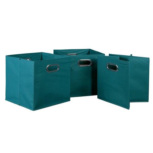 Niche Cubo Foldable Fabric Storage Bins [Teal, Set of 3]