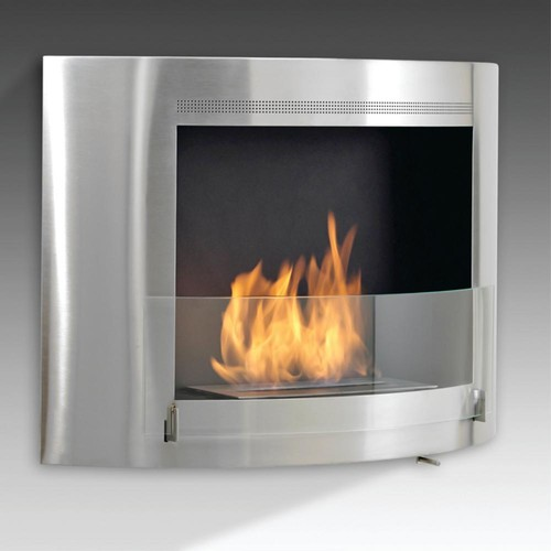 Olympia 33 in. Ethanol Wall Mounted Fireplace in Stainless Steel