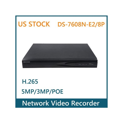 US STOCK Hikvision DS-7608N-E2/8P HD 8CH POE NVR 5MP 3MP Network Video Recorder For IP Cameras