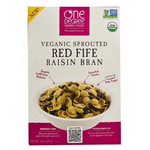 One Degree Organic Foods Veganic Sprouted Red Fife Raisin Bran -- 11 oz