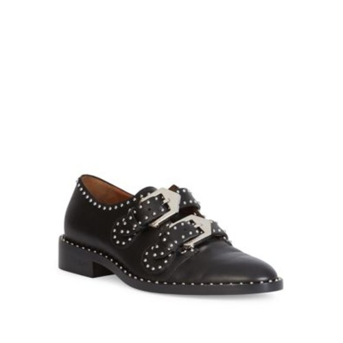 GIVENCHY Elegant Studded Leather Monk-Strap Loafers