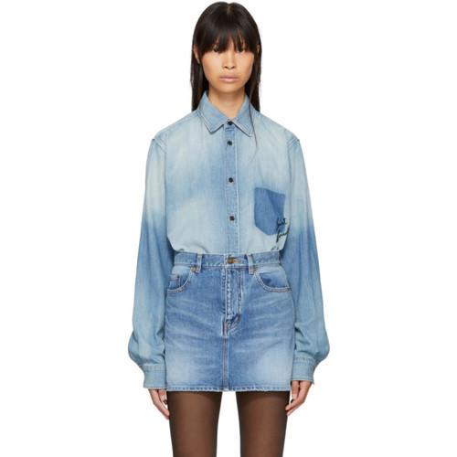 SAINT LAURENT Blue Raw Edge Denim Shirt