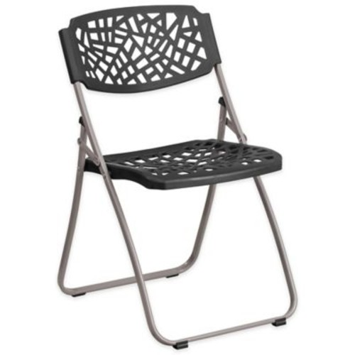 Flash Furniture Folding Chair in Black with Silver Frame