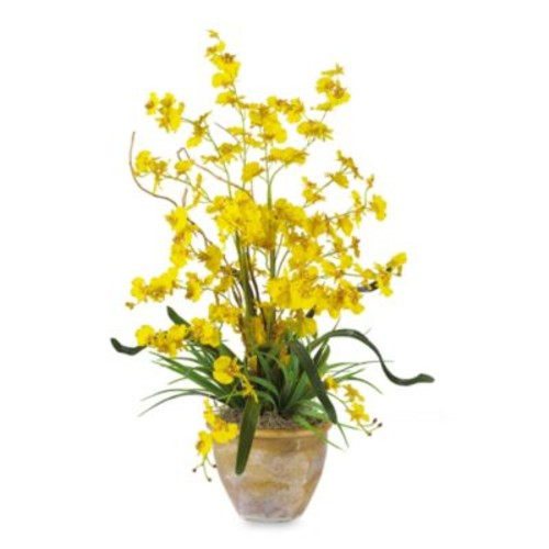 Nearly Natural Dancing Lady Silk Orchid Arrangement - Yellow