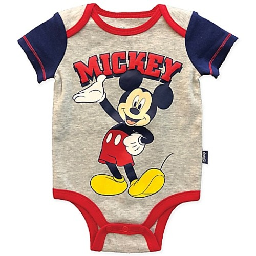 Disney Size 3M Mickey Mouse Bodysuit in Grey/Red