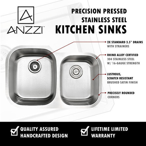 Anzzi Moore Undermount Stainless Steel 32-inch Double Bowl Kitchen Sink and Faucet Set with Singer Faucet in Polished Chrome