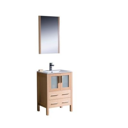 Fresca Torino 24 in. Vanity in Light Oak with Ceramic Vanity Top in White with White Basin and Mirror