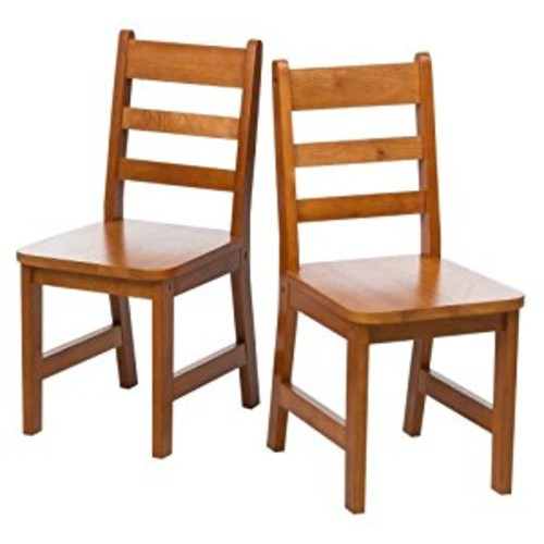 Set of 2 Child's Chairs in Pecan Finish