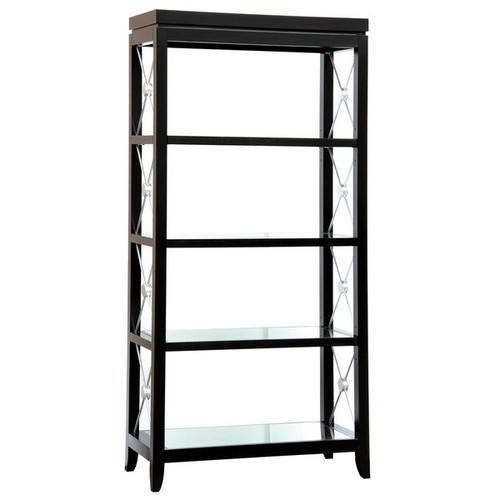 Black Finish Bookcase/Etagere with Glass Shelves