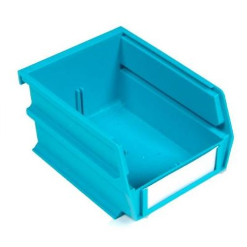 Triton Products LocBin 5-3/8 in. x 4-1/8 in. x 3 in. Stacking, Hanging, Interlocking Polypropylene Bin in Teal (24-Piece)