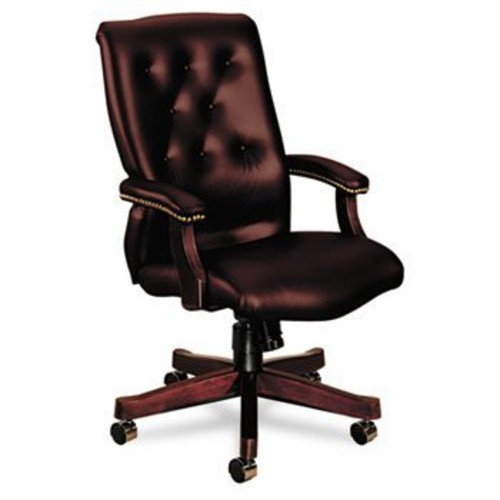 6540 Series Executive High-Back Swivel Chair, Mahogany/Oxblood Vinyl Upholstery by HON