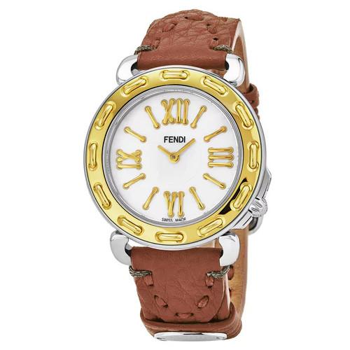 Fendi Women's F8001345H0.SSF2 'Selleria' Mother of Pearl Dial Beige Leather Strap Swiss Quartz Watch - Women's