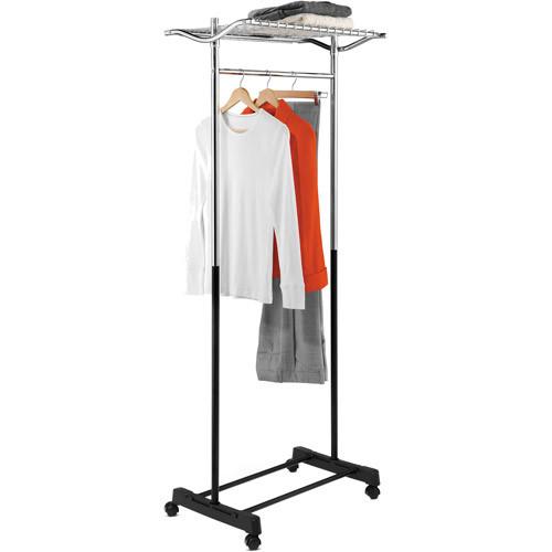 Honey-Can-Do GAR-01173 Heavy Duty Rolling Garment Rack with Top Shelf