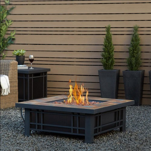 Real Flame Morrison 34 in. Steel Fire Pit in Black and Brown with Natural Slate Tile