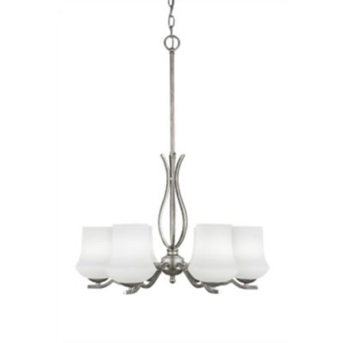 Toltec Lighting Revo 6-Light Shaded Chandelier; Aged Silver