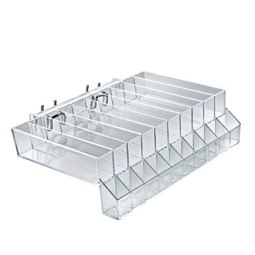 Azar Displays 225555 10-Compartment Cosmetic Tray with Tester Slots for Pegboard, Slatwall / Counter Top