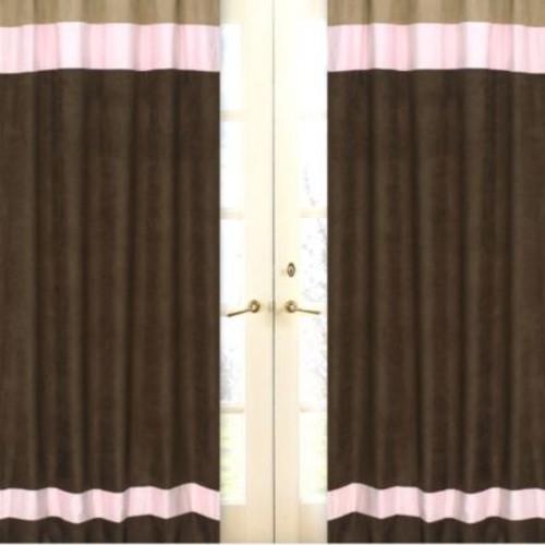 Sweet Jojo Designs Soho 84-Inch Window Panels in Pink/Brown (Set of 2)