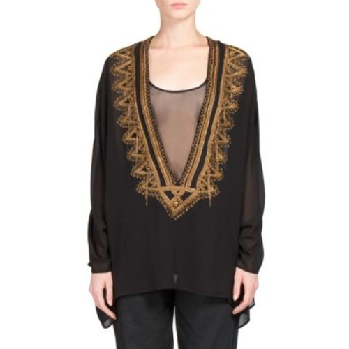 SAINT LAURENT Embroidered Deep V Caftan