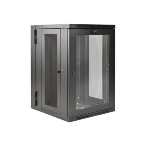 Tripp Lite SmartRack SRW18USDPG 18U Black UPS-Depth Wall-Mount Rack Cabinet with Window