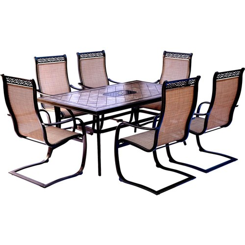 Hanover Monaco 7-Piece Aluminum Outdoor Dining Set with Rectangular Tile-Top Table and Contoured Sling Spring Chairs