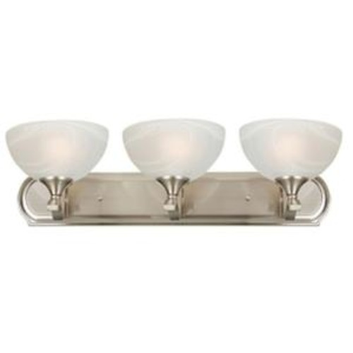 Yosemite Home Decor Glacier Point Collection 3-Light Satin Nickel Bathroom Vanity Light with Ivory Cloud Glass Shade