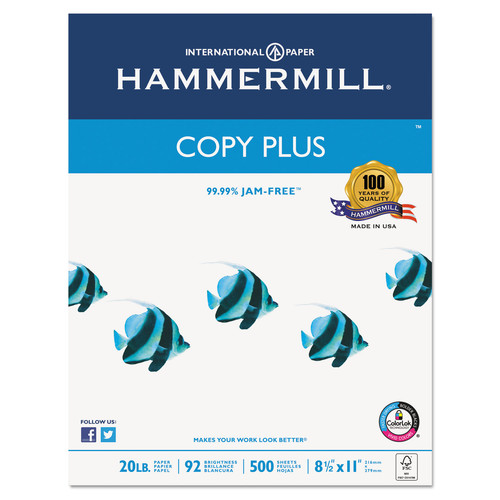 Hammermill HAM105007 Copy Plus Copy Paper, 92 Brightness, 20lb, 8-1/2 x 11, White, 5000 Sheets/Carton