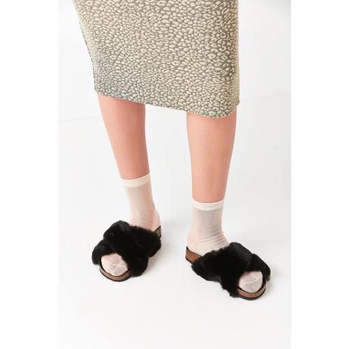 Crossed Faux Fur Slide [REGULAR]