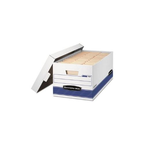 Stor/File Storage Box, Legal, Locking Lid, White/Blue, 12/Carton