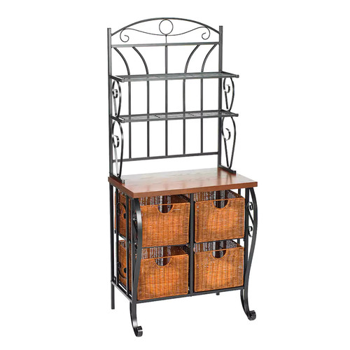 Baker's Rack with Wicker Storage Iron/Black - Southern Enterprises