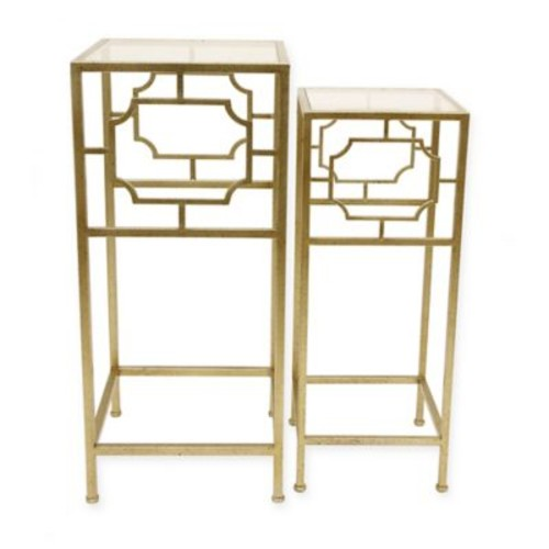 Dcor Therapy Elegant and Modern 2-Piece Nesting Table Set in Champagne