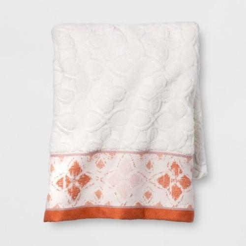 Diamond Border Towel White/Orange - Opalhouse