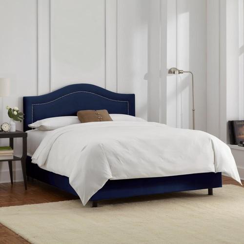 Velvet Navy Full Inset Nail Button Bed