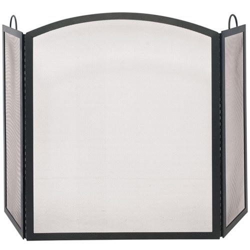 UniFlame Arch Top Black Wrought Iron 3-Panel Fireplace Screen, Medium
