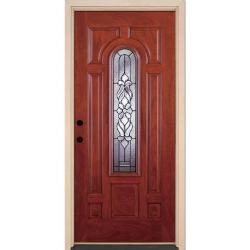 Feather River Doors 37.5 in. x 81.625 in. Lakewood Patina Center Arch Lite Stained Cherry Mahogany Right-Hand Fiberglass Prehung Front Door