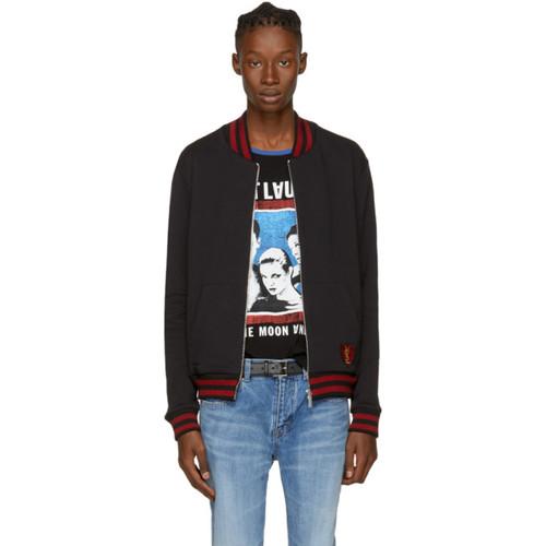 SAINT LAURENT Black Zip Pullover