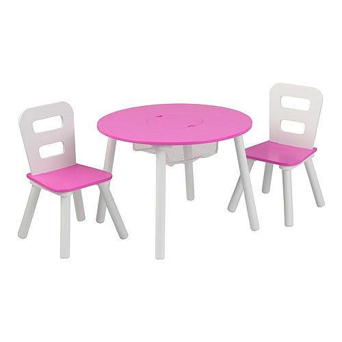 KidKraft Round Storage Table & 2 Chair Set - Pink & White