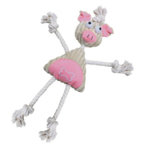 Pet Life Jute And Rope Plush Pig Manniquen - Pet Toy- Pink