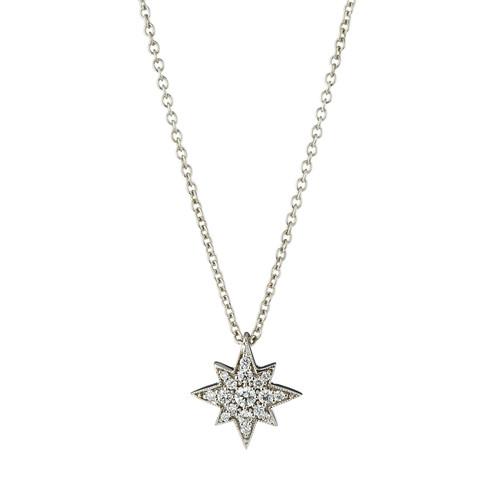 Penny Preville 18k Small Diamond Starburst Pendant Necklace