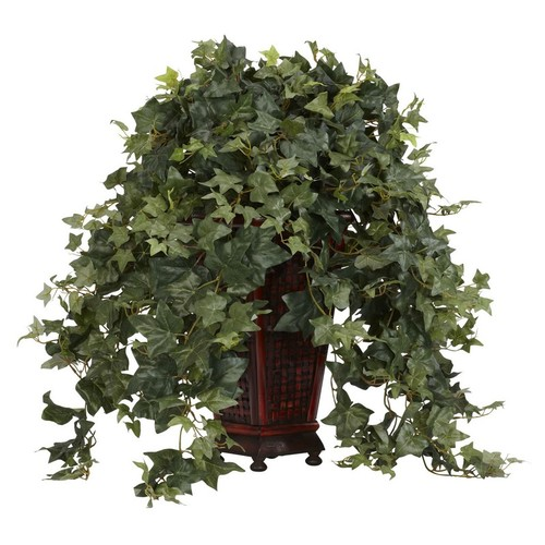 Nearly Natural Vining Puff Ivy with Vase Decorative Silk Plant Green 6702