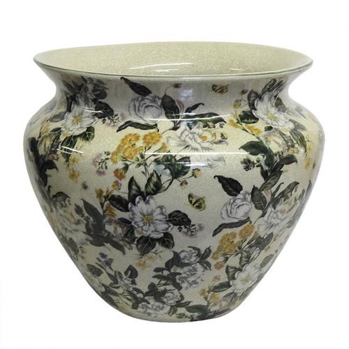 Tropical Blossoms Round Porcelain Planter