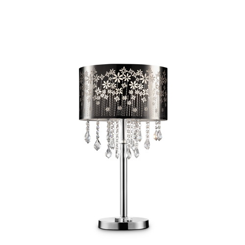 Ore International 28.5h floral blooms crystal table lamp