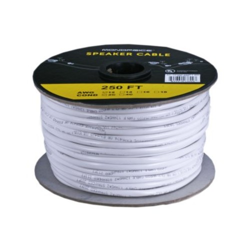 Monoprice 250ft 12AWG CL2 Rated 2-Conductor Loud Speaker Cable (For In-Wall Installation)