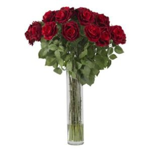 Nearly Natural 32 in. H Red Large Rose Silk Flower Arrangement
