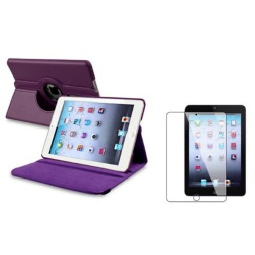 Insten 816057 Leather Swivel Stand Case for Apple iPad Mini with Retina Display Tablet, Purple