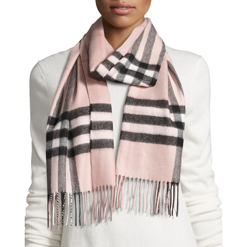 BURBERRY Giant Check Cashmere Scarf, Rose