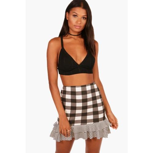 Sophie Gingham Mix Double Ruffle Mini Skirt