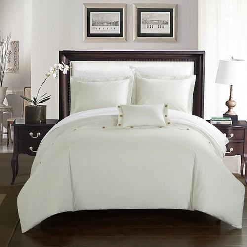 Chic Home Astrid White Cotton Duvet Cover 4-Piece Set