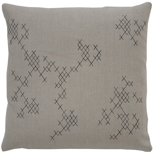 Exes Pillow [Fabric and Stitch : Hemp\/Black Stitch]
