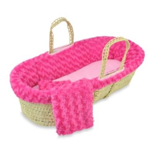 Tadpoles Twisted Fur Moses Basket Set in Dark Pink