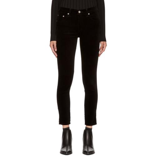 RAG & BONE Black Velvet High-Rise Skinny Trousers